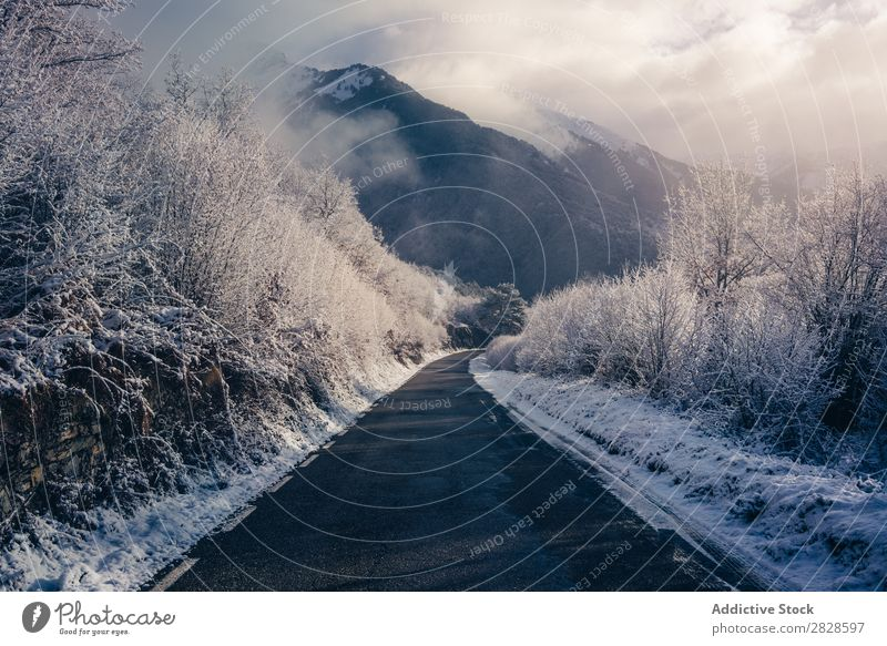Small road in snowy mountains Nature Winter Mountain Street Asphalt Landscape Snow Vacation & Travel Sky Ice Beautiful White Seasons Cold Frozen Frost