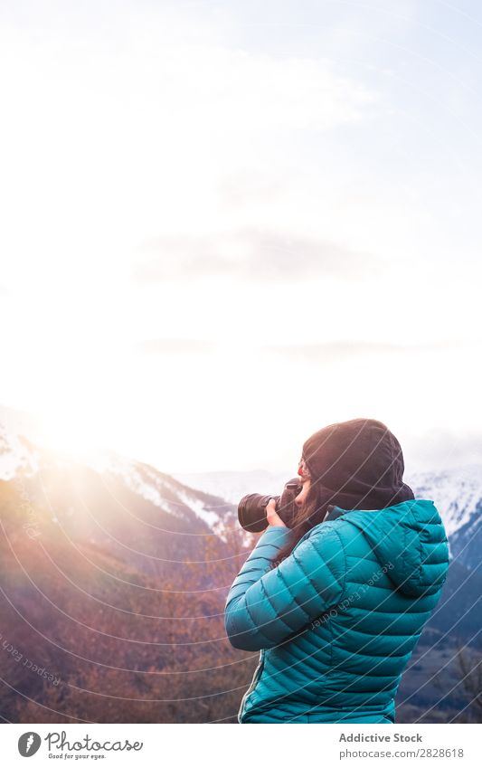 Woman taking shots of mountain Mountain Winter Photographer Nature Landscape Vacation & Travel Girl Photography Human being Lifestyle Camera Tourist