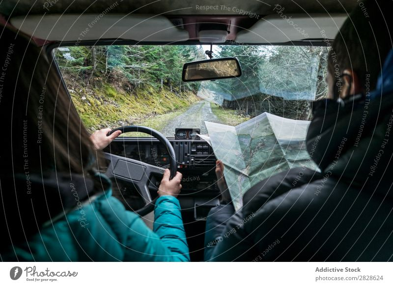 Couple walking on rural road riding Landscape Car Map searching Direction Navigation Ride Trip Vacation & Travel Man Woman Transport Vehicle Street
