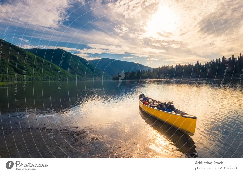 Kayak sailing on water Water Mountain Landscape Vacation & Travel Nature Sports kayaking Adventure Action Lake Background picture Transport Tourism Mirror