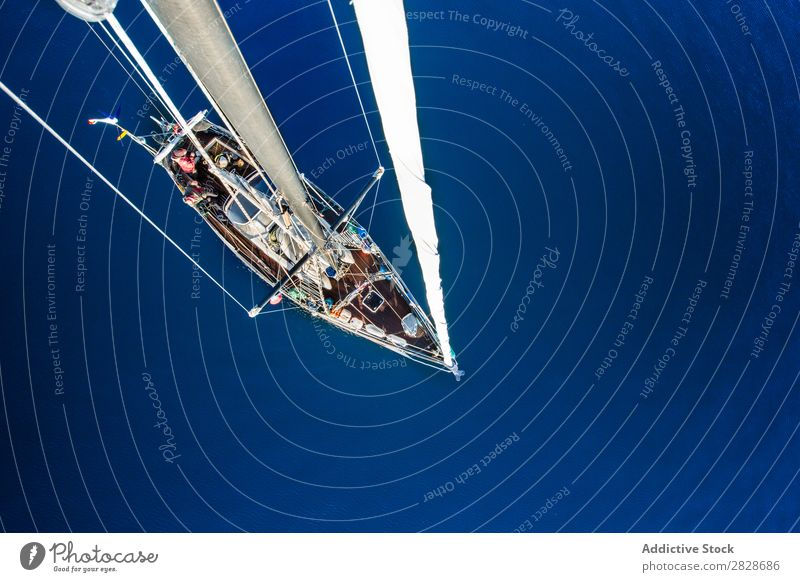 From above shot of sailboat Sailboat Floating Canvas Vessel Yachting Transport Ocean Blue Adventure Vacation & Travel Nautical Water marine Freedom Watercraft