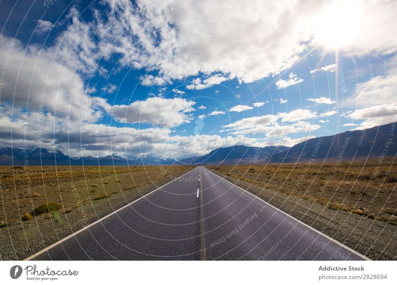 Long perspective road in mountains Mountain Highway Landscape Bright Panorama (Format) Adventure Blue sky Natural
