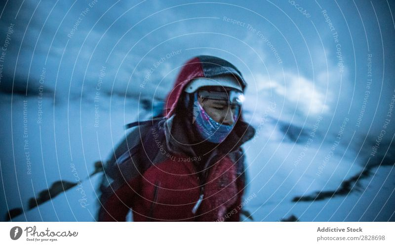 Person in warm clothing in snows Human being trekking Equipment Adventurer Altimeter Tourism Seasons Sports Climbing Vacation & Travel hiker Winter Mountain
