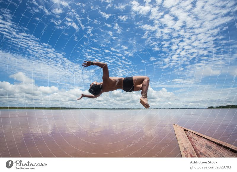 Person jumping from boat Man Watercraft Trick flip Jump Adventure Board in motion Flying Action Landscape Relaxation Vacation & Travel Summer Transport Sports