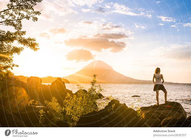 Anonymous person on tropical background Woman Tropical Landscape Tourism Rock Vacation & Travel Nature Relaxation Posture Summer Ocean Paradise Coast