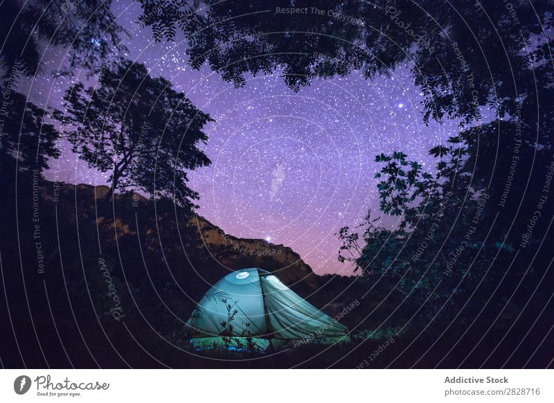 Tent under starry sky Tourism Stars Wilderness Constellation Camping Adventure Universe Action Evening Relaxation Vacation & Travel Night trekking Beautiful