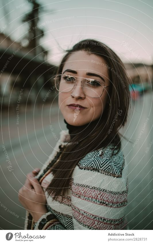 Young stylish woman on street Woman pretty Youth (Young adults) Beautiful City Street Town Person wearing glasses Posture Brunette Attractive Human being