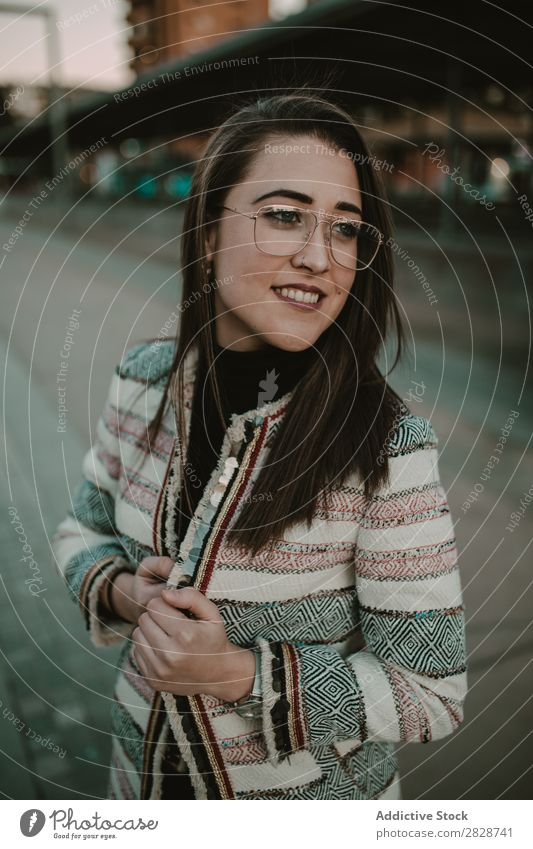 Young stylish woman on street Woman Youth (Young adults) Beautiful City Street Town Person wearing glasses