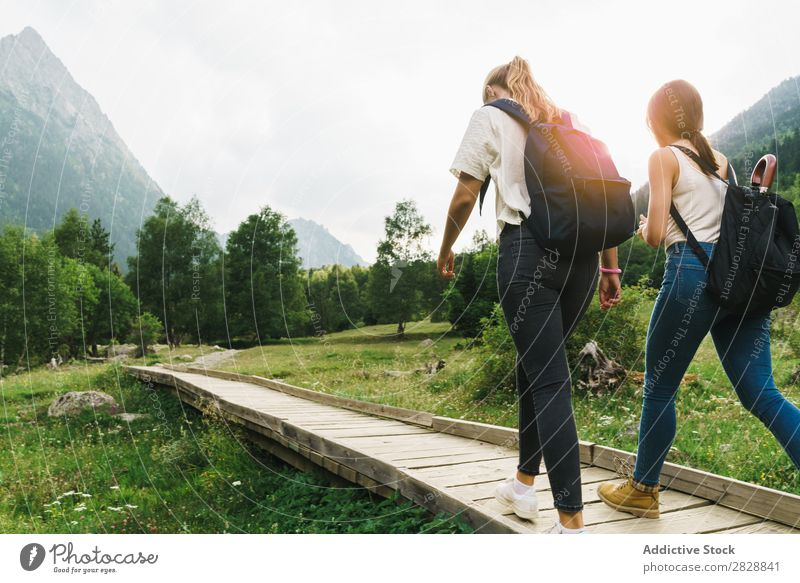 Women walking on wooden path in mountains Woman Walking Street Rural Friendship Backpack Nature Girl Youth (Young adults) Beautiful Vacation & Travel Tourism