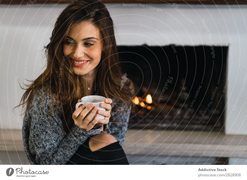 Beautiful model with cup of coffee Woman Home Cuddling Coffee Dream Posture Cup Pensive
