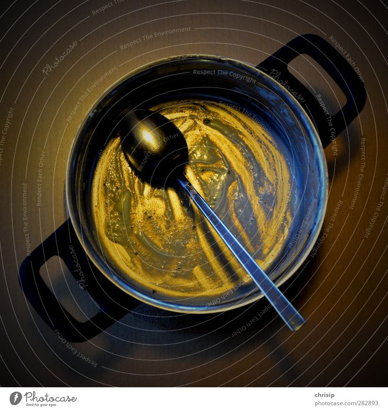 eaten up Food Nutrition Bowl Pot Cutlery Spoon Eating Dirty Yellow Gold Black Colour photo Interior shot Deserted Artificial light