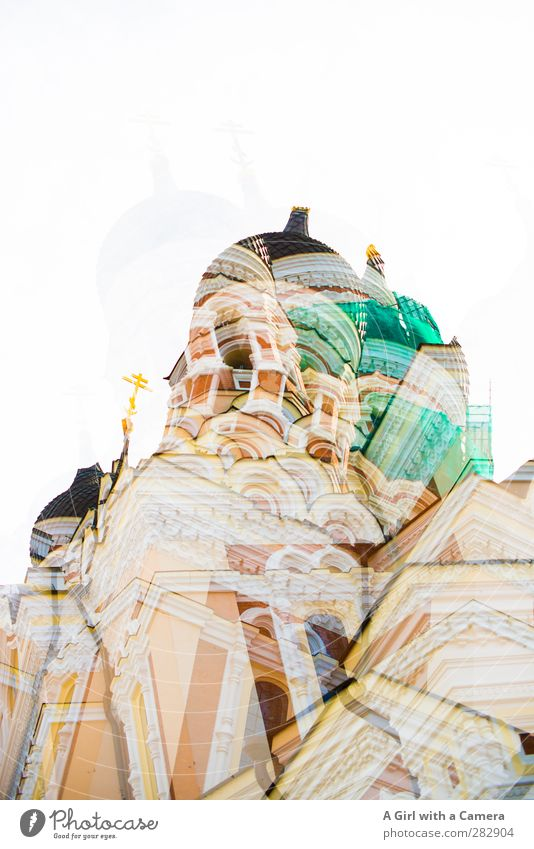 Alexander Nevsky Cathedral (several times) Tallinn Estonia Old town Overpopulated Dome Onion tower Facade Tourist Attraction Multicoloured Religion and faith