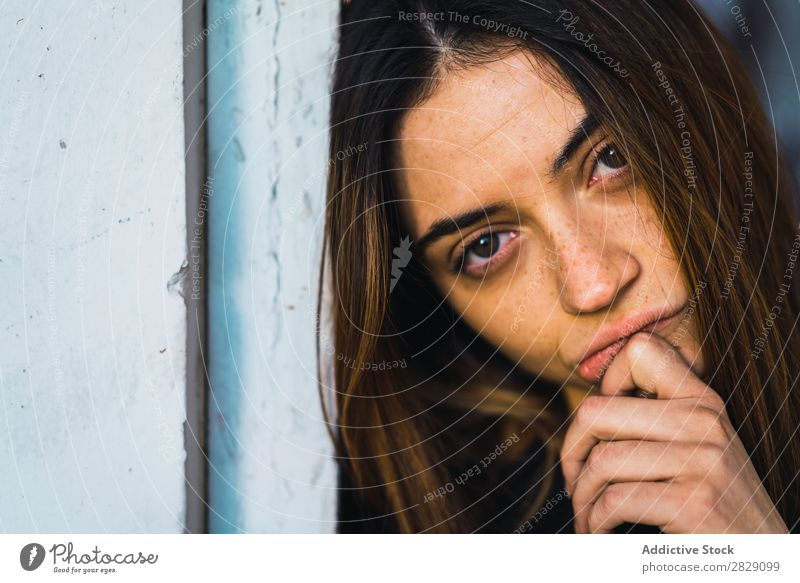 Woman posing in doorway Building Stand Lean Looking into the camera Dream Pensive Considerate