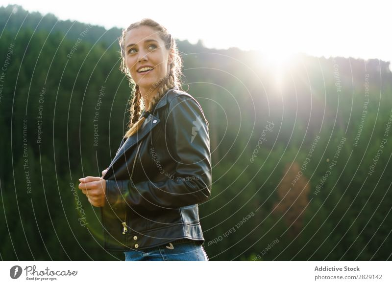 Pretty woman on meadow Woman Cheerful Meadow pretty Easygoing Beautiful Beauty Photography Happy Nature Summer Girl Human being Youth (Young adults) Green