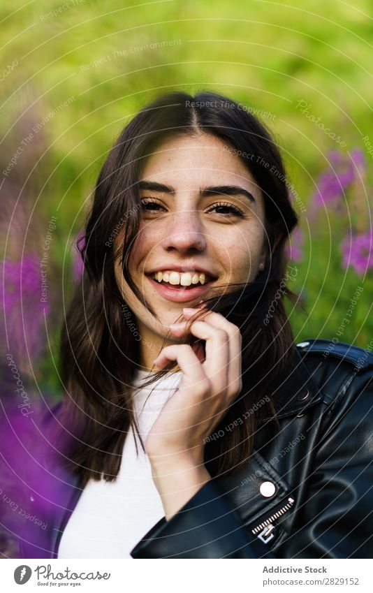 Pretty girl in nature Woman Nature pretty To enjoy Easygoing Stand Looking into the camera Portrait photograph Youth (Young adults) Beautiful Model Girl Cute