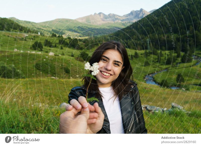 Person giving flower to man Woman Flower Meadow Field Hand Photographer Summer Nature Girl Youth (Young adults) Beautiful Happy Beauty Photography Green Joy