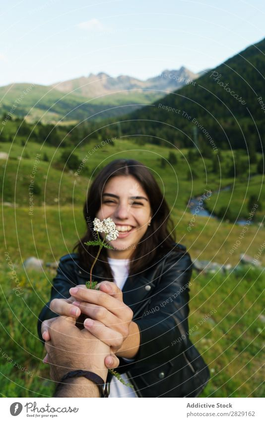Person giving flower to woman Woman Flower Meadow Field Hand Photographer Summer Nature Girl Youth (Young adults) Beautiful Happy Beauty Photography Green Joy