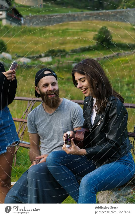 Friends singing in nature Woman Man Music Ukulele Beautiful Happy Youth (Young adults) Listening performing Joy Musician instrument Summer Guitar