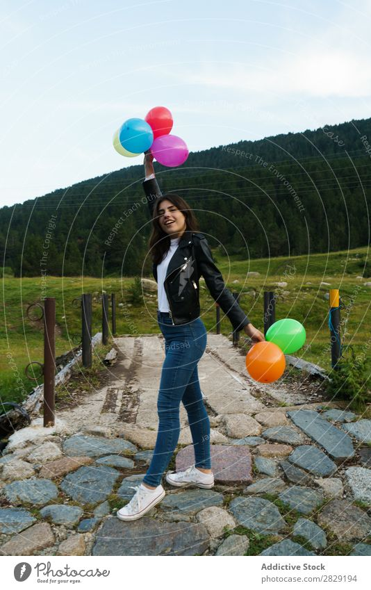 Woman posing with balloons Nature pretty Posture Looking into the camera Freedom Joy Beautiful Human being Beauty Photography Happiness Happy