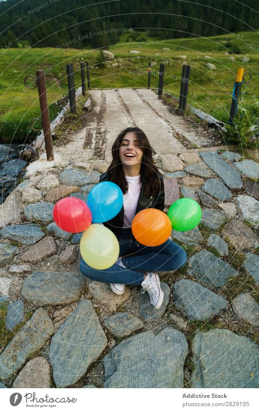 Woman posing with balloons Nature Posture Freedom Joy Beautiful Human being