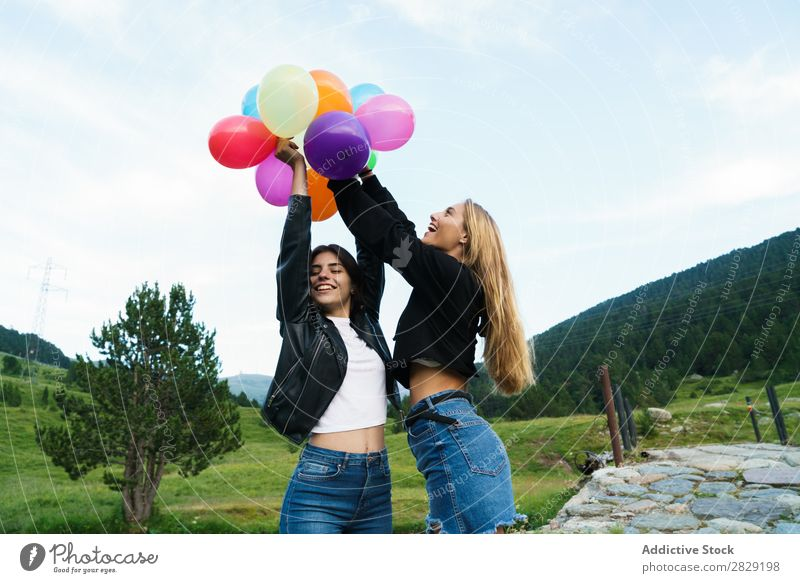 Festive women with balloons Woman Nature Friendship Together Human being Hands up! Posture Freedom