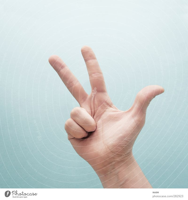 Hand Bright Arm Skin 3 Fingers Communicate Cool (slang) Simple Sign European Hip & trendy Clue Gesture Thumb Light blue