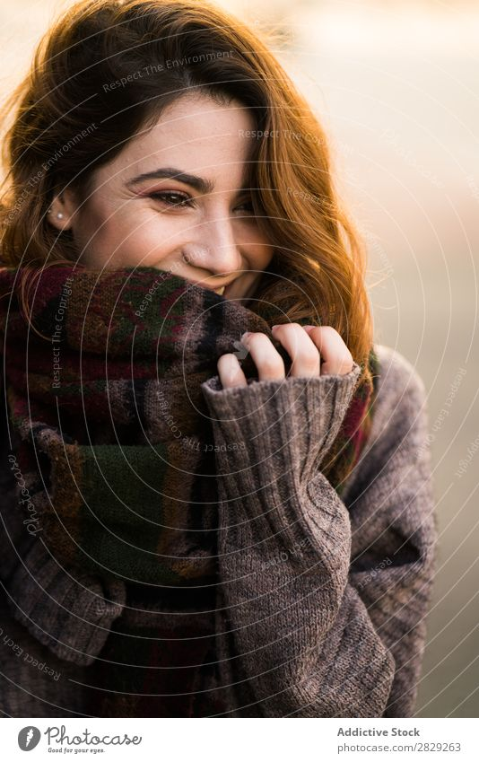 Cheerful woman wearing warm sweater Woman Sweater Smiling Happy Youth (Young adults) Hair Beautiful Girl Attractive Self-confident pretty Human being Brunette