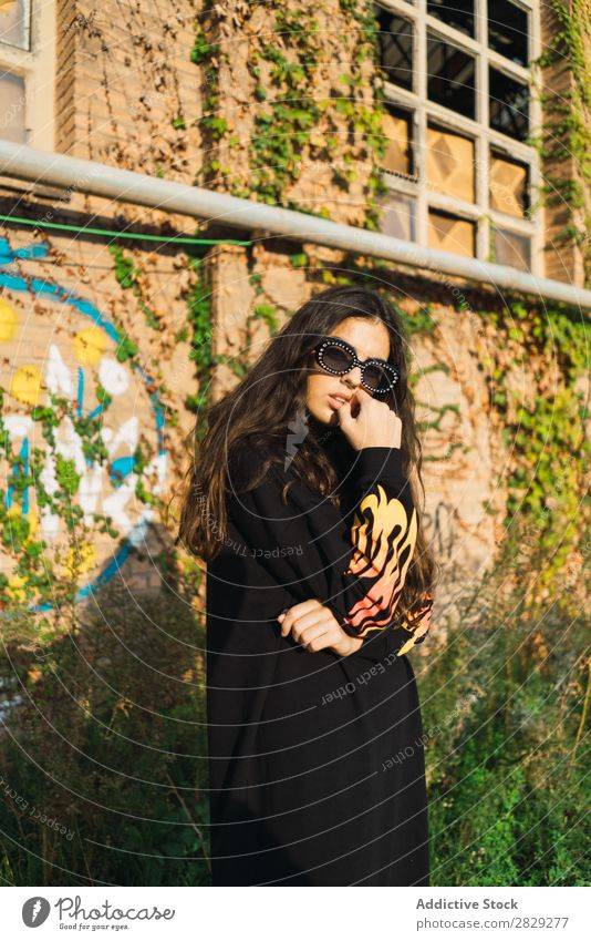 Stylish woman on street Woman Style Street Town Posture Coat Sunglasses Portrait photograph Attractive Beauty Photography Hip & trendy Lifestyle pretty Fashion