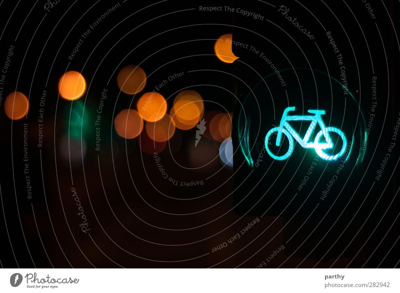 Free for Bikes Town Transport Passenger traffic Cycling Traffic light Road sign Mobility Colour photo Exterior shot Detail Deserted Copy Space bottom Night