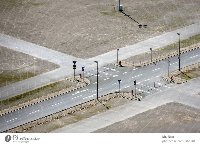 oil crisis Beautiful weather Town Traffic infrastructure Street Crossroads Lanes & trails Road junction Road sign Future Control barrier Asphalt Street lighting