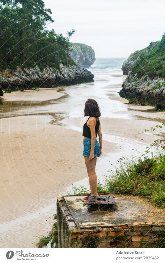 Woman standing at seaside pretty Beach Girl Youth (Young adults) Attractive Beautiful Beauty Photography Summer Ocean Body Nature Portrait photograph Water