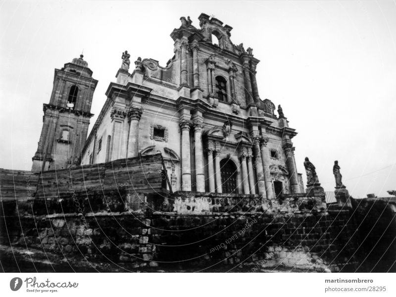 ghost church Tumbledown Sicily Wide angle Rain Romance Italy Worm's-eye view Dark Derelict House of worship old cathedral Black & white photo Contrast