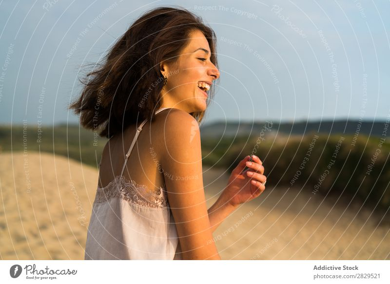 Girl smiling on the beach Beach Happiness Summer Movement Nature Vacation & Travel Cheerful enjoyment Playful Recklessness Action in motion Resort Ocean Healthy