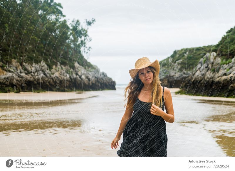 Girl in hat posing on beach Woman Beach Posture Style Vacation & Travel Beauty Photography Youth (Young adults) Summer
