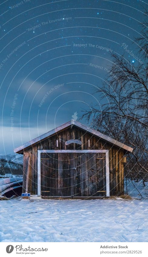 Small wooden building in winter Winter Nature Cold North Wood House (Residential Structure) Evening Dusk Covered Snow Seasons White Landscape Ice Frost