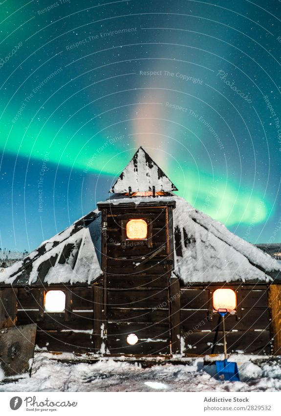 House at night with Polar light Winter Nature Cold North Covered Light polar light Night starry House (Residential Structure) Snow Seasons White Landscape Ice