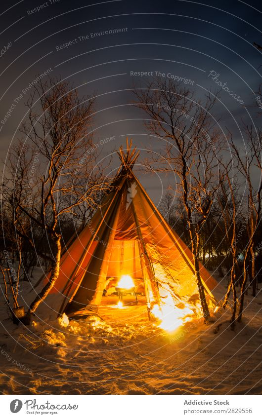 Tent with bonfire at night Winter Nature Cold North Covered Bonfire Light Night Forest Snow Seasons White Landscape Ice Frost Vacation & Travel Mountain