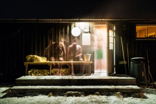 People walking out of sauna Winter Nature Cold North Human being Sauna Sit warming Covered Snow Seasons White Landscape Ice Washing Clean Frost