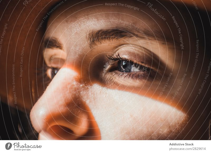 Woman with flares on face Flare Face Eyes Close-up Youth (Young adults) Portrait photograph Beautiful