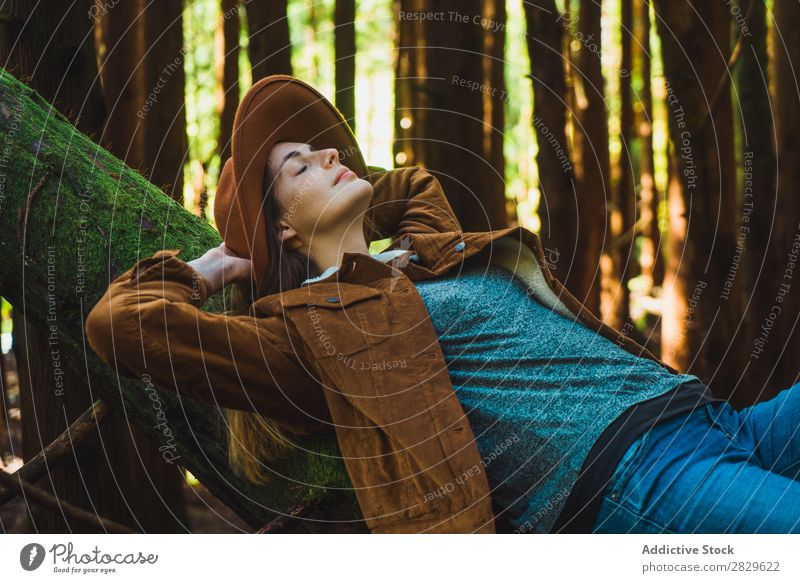 Woman relaxing on tree trunk Tourist Forest Green Nature Lie (Untruth) Relaxation Trunk