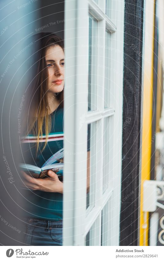 Dreaming girl looking away in window Woman Window Beauty Photography Portrait photograph Beautiful Pensive To enjoy Reflection Think Relaxation Attractive