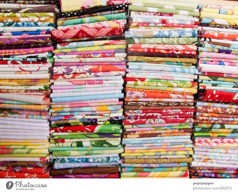 good fabric Shopping Trade Fashion Clothing Dress Decoration Ornament Line Stripe Hip & trendy Kitsch Multicoloured Colour Textiles pile Sewing Subdued colour