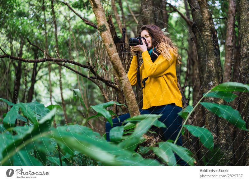 Woman taking shots in forest Forest Green Photographer Camera Vacation & Travel Tourism
