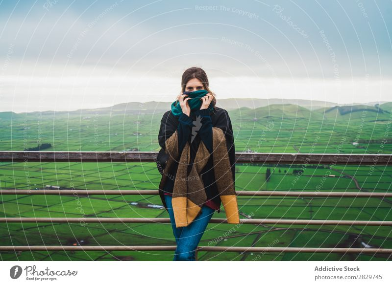Woman on terrace with amazing panoramic view Terrace Panorama (Format) Field Style Nature Cold Environment Landscape Fog Agriculture Horizon agricultural Stand