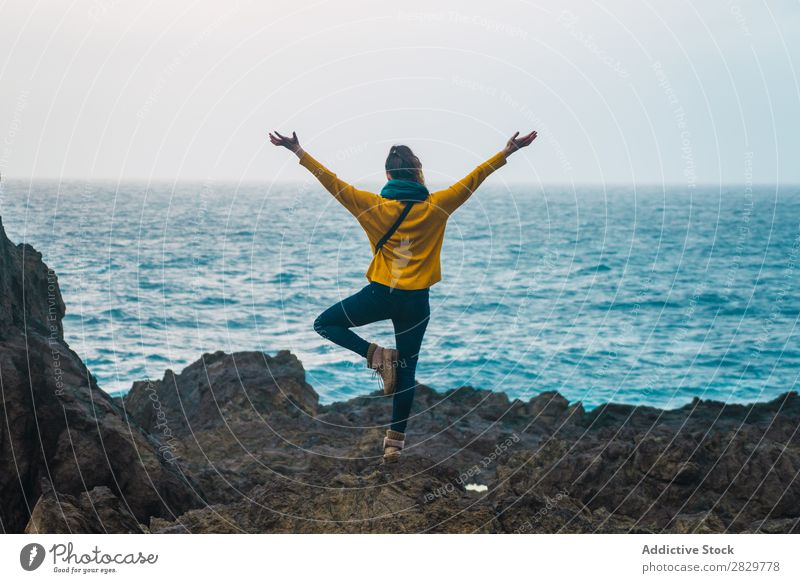 Woman with hands apart at seaside Nature Freedom Relaxation Stand Rock Coast Beach Vacation & Travel Ocean Photography Summer Tourist Tourism Landscape