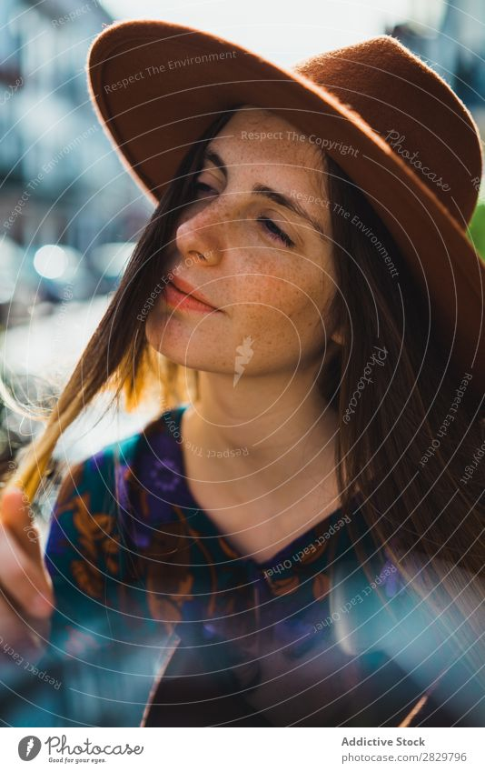 Sensual young woman in hat Woman pretty Style Street Hat To enjoy Exterior shot Fashion Beautiful Youth (Young adults) Portrait photograph Attractive City