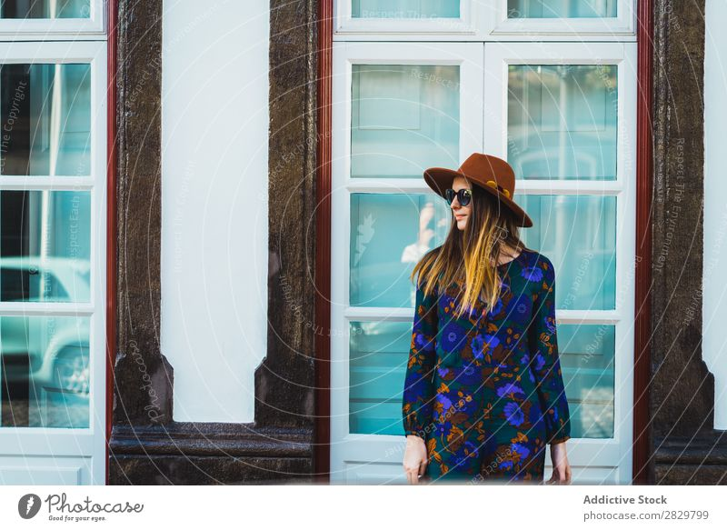 Cheerful stylish woman in hat Woman pretty Style Street Hat Walking Sunglasses Door Exterior shot Fashion Beautiful Youth (Young adults) Portrait photograph