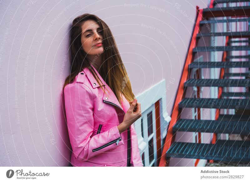 Young woman posing on stairs on street Woman pretty Style Posture Steps Stairs Happy Street Exterior shot Fashion Beautiful Youth (Young adults)