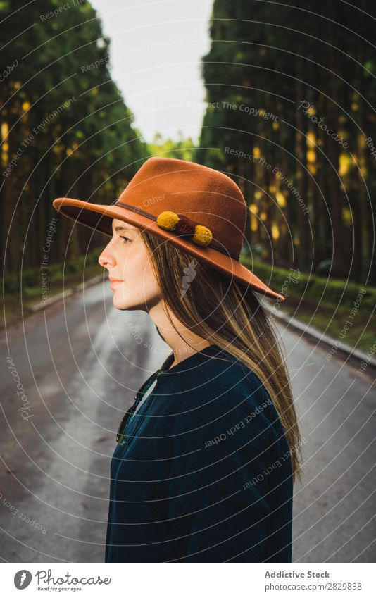 Young woman in sunny forest Woman pretty Forest Green Hat Looking away Nature Environment Natural Seasons Plant Leaf Light Fresh Bright Day Sunlight Wood Growth