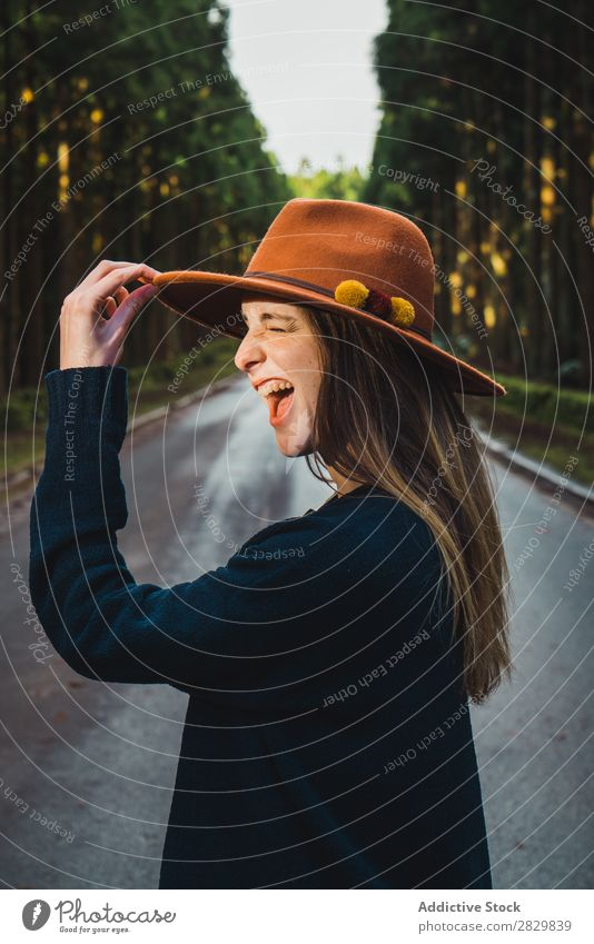 Young woman in sunny forest Woman pretty Forest Green Hat Nature Environment Natural Seasons Plant Leaf Light Fresh Bright Day Sunlight Wood Growth Trunk